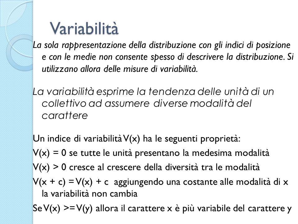Variabilità La sola rappresentazione della distribuzione con gli indici di posizione e con le medie non consente spesso di descrivere la distribuzione