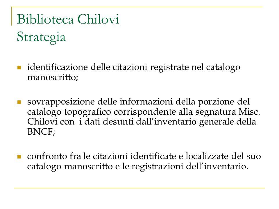 Biblioteca Chilovi Strategia identificazione delle citazioni registrate nel catalogo manoscritto; sovrapposizione delle informazioni della porzione de