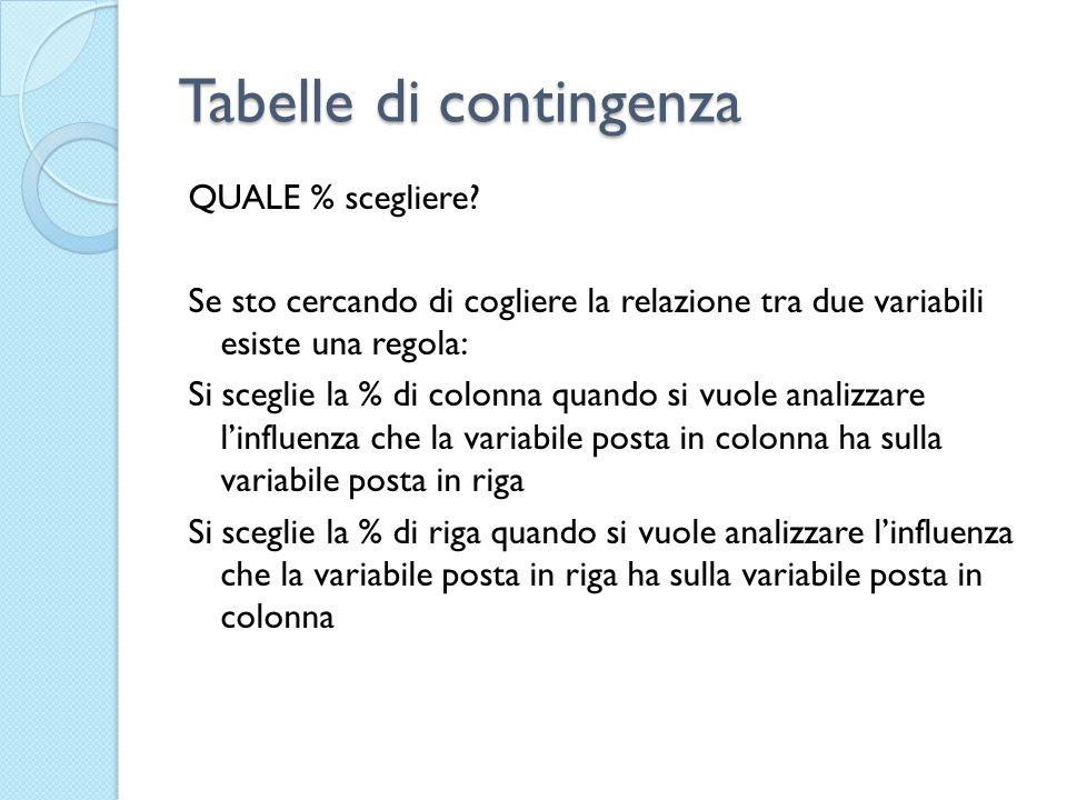 Tabelle di contingenza QUALE % scegliere? Se sto cercando di cogliere la relazione tra due variabili esiste una regola: Si sceglie la % di colonna qua