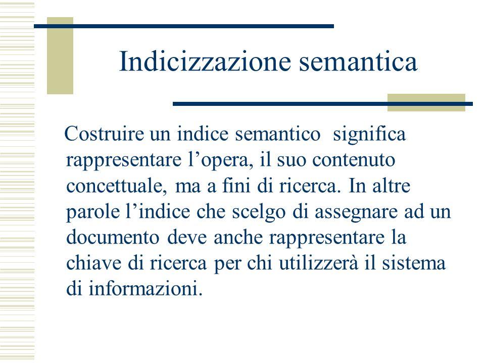 Indicizzazione semantica Costruire un indice semantico significa rappresentare lopera, il suo contenuto concettuale, ma a fini di ricerca. In altre pa