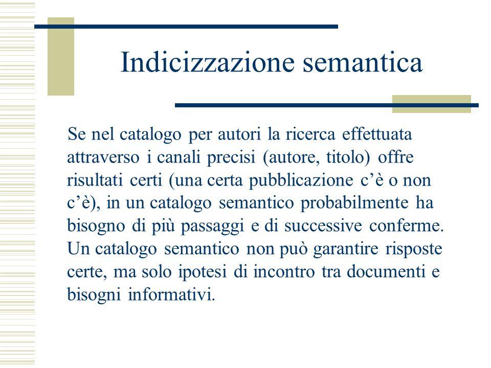 Indicizzazione semantica Se nel catalogo per autori la ricerca effettuata attraverso i canali precisi (autore, titolo) offre risultati certi (una cert