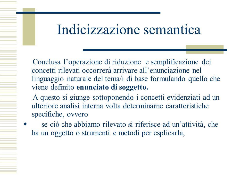Indicizzazione semantica Conclusa loperazione di riduzione e semplificazione dei concetti rilevati occorrerà arrivare allenunciazione nel linguaggio n