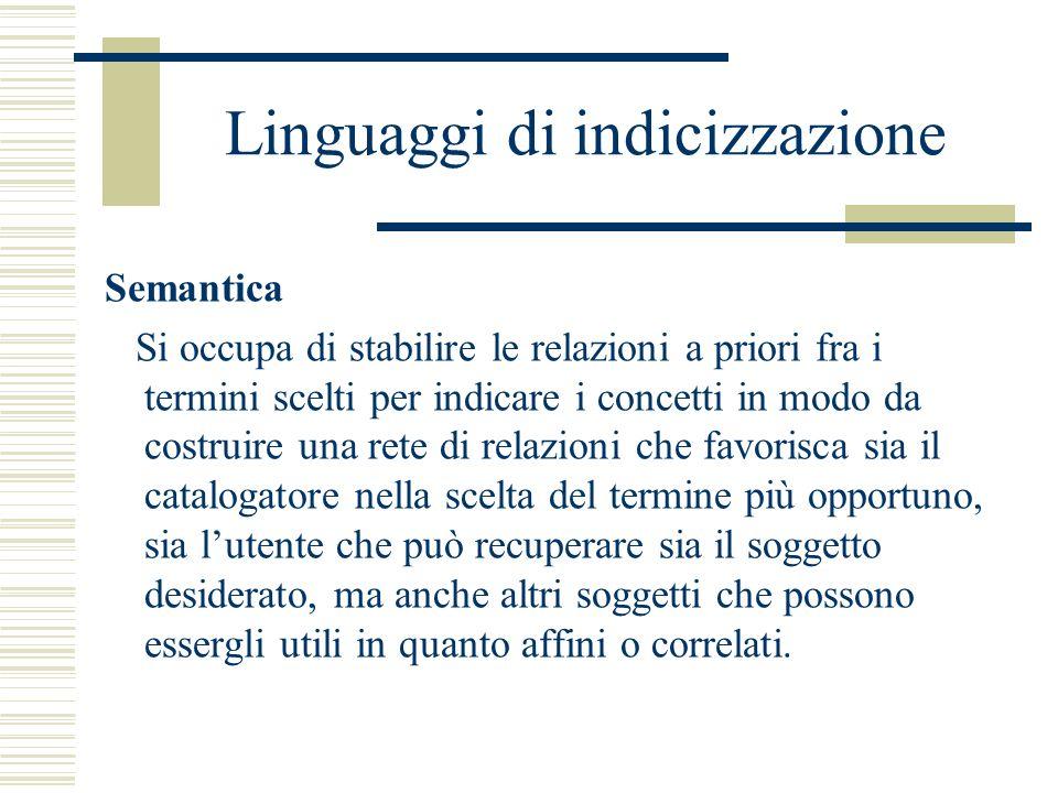 Linguaggi di indicizzazione Semantica Si occupa di stabilire le relazioni a priori fra i termini scelti per indicare i concetti in modo da costruire u