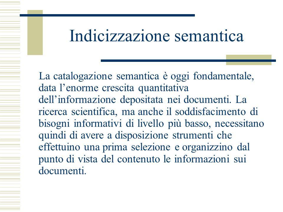 Indicizzazione semantica La catalogazione semantica è oggi fondamentale, data lenorme crescita quantitativa dellinformazione depositata nei documenti.