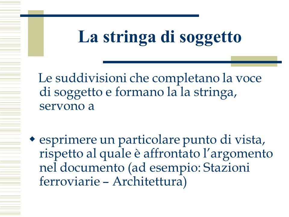 La stringa di soggetto Le suddivisioni che completano la voce di soggetto e formano la la stringa, servono a esprimere un particolare punto di vista,