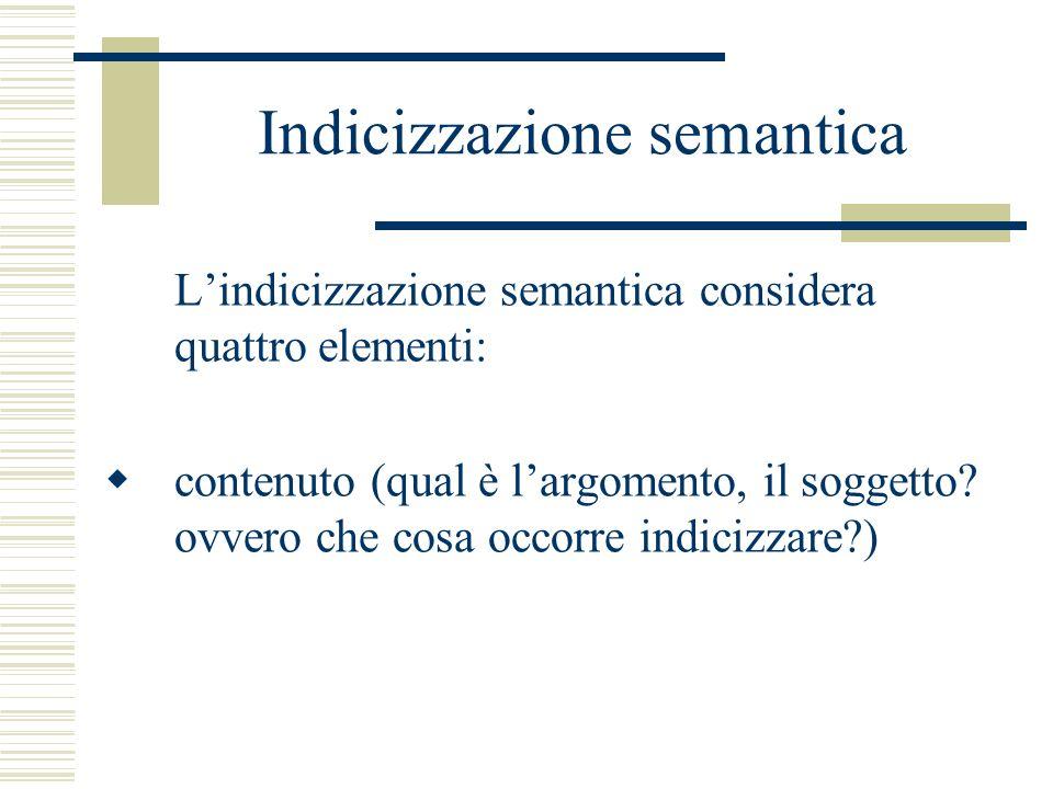 Indicizzazione semantica Lindicizzazione semantica considera quattro elementi: contenuto (qual è largomento, il soggetto? ovvero che cosa occorre indi