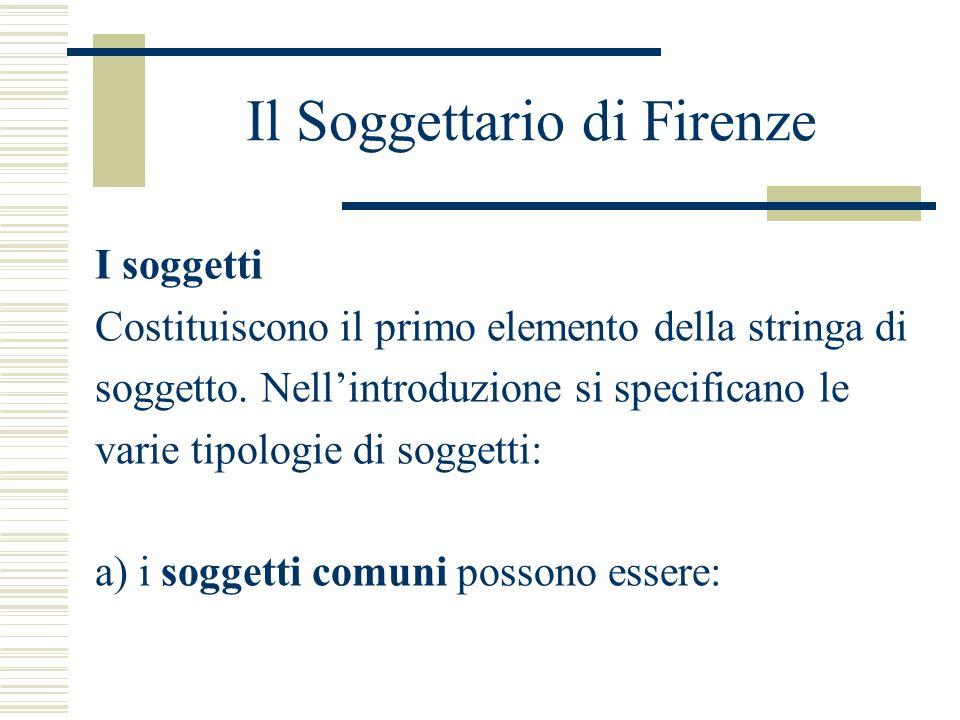 Il Soggettario di Firenze I soggetti Costituiscono il primo elemento della stringa di soggetto. Nellintroduzione si specificano le varie tipologie di