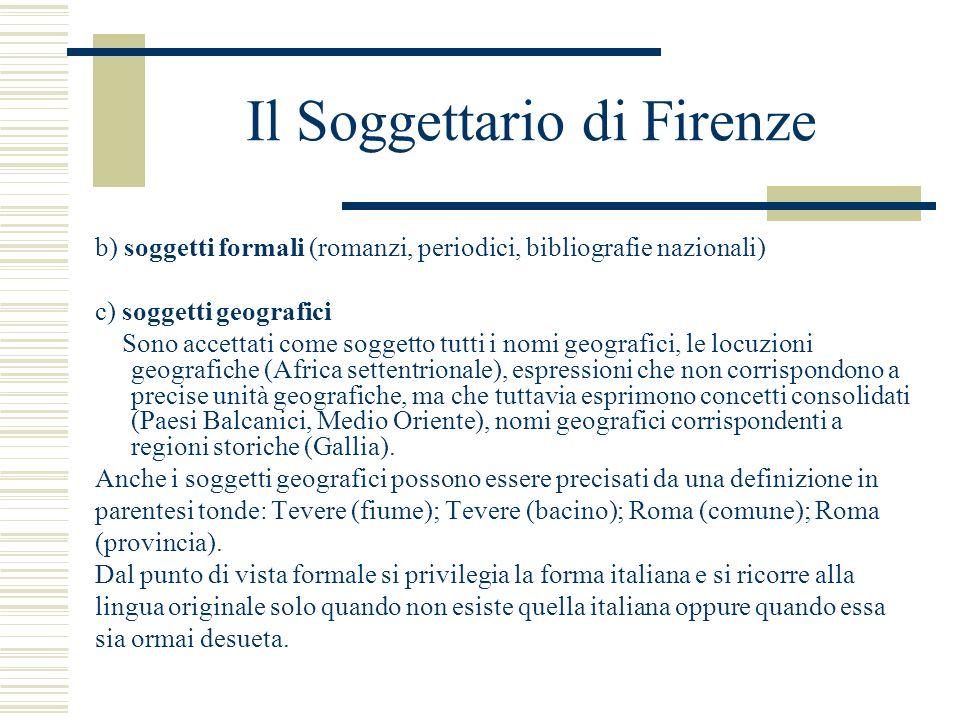 Il Soggettario di Firenze b) soggetti formali (romanzi, periodici, bibliografie nazionali) c) soggetti geografici Sono accettati come soggetto tutti i