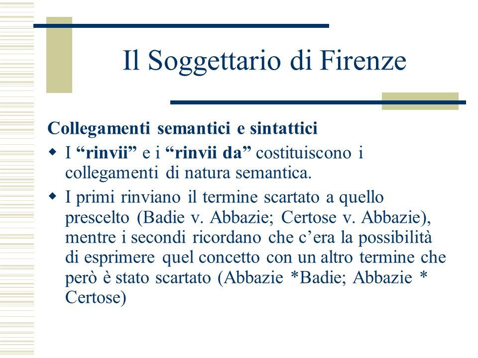 Il Soggettario di Firenze Collegamenti semantici e sintattici I rinvii e i rinvii da costituiscono i collegamenti di natura semantica. I primi rinvian