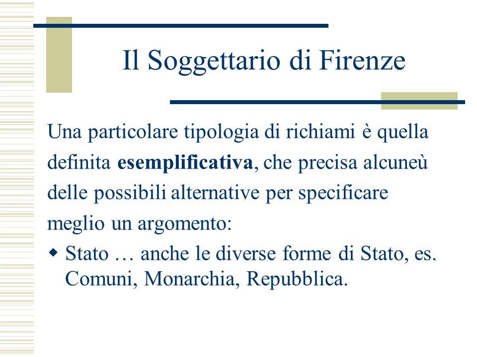 Il Soggettario di Firenze Una particolare tipologia di richiami è quella definita esemplificativa, che precisa alcuneù delle possibili alternative per