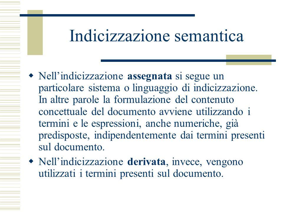Indicizzazione semantica Nellindicizzazione assegnata si segue un particolare sistema o linguaggio di indicizzazione. In altre parole la formulazione