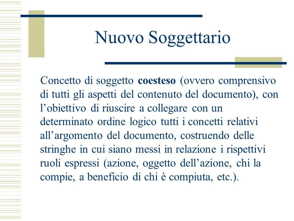 Nuovo Soggettario Concetto di soggetto coesteso (ovvero comprensivo di tutti gli aspetti del contenuto del documento), con lobiettivo di riuscire a co