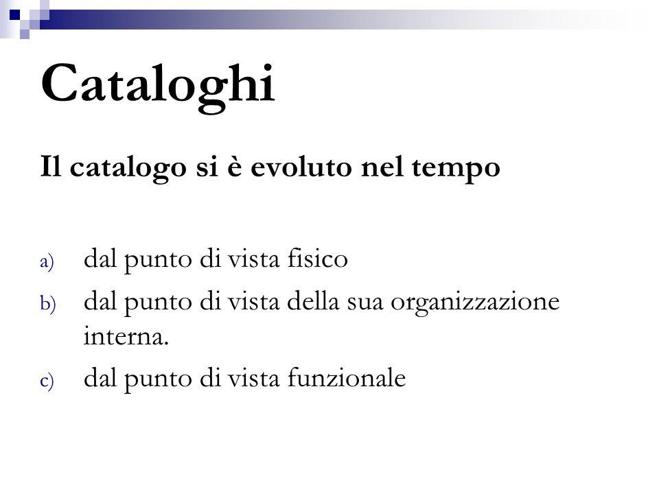 Cataloghi Il catalogo si è evoluto nel tempo a) dal punto di vista fisico b) dal punto di vista della sua organizzazione interna. c) dal punto di vist