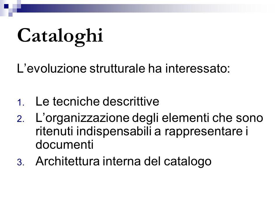 Cataloghi Levoluzione strutturale ha interessato: 1. Le tecniche descrittive 2. Lorganizzazione degli elementi che sono ritenuti indispensabili a rapp