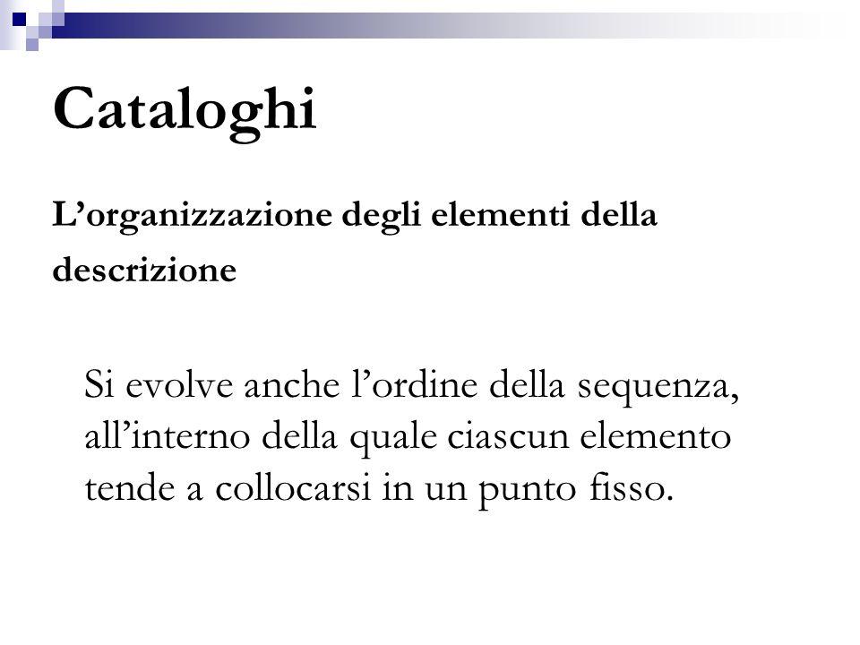 Cataloghi Architettura del catalogo Un catalogo è il risultato dellassemblaggio di una serie di sequenze, ciascuna delle quali corrisponde ad ununita bibliografica.