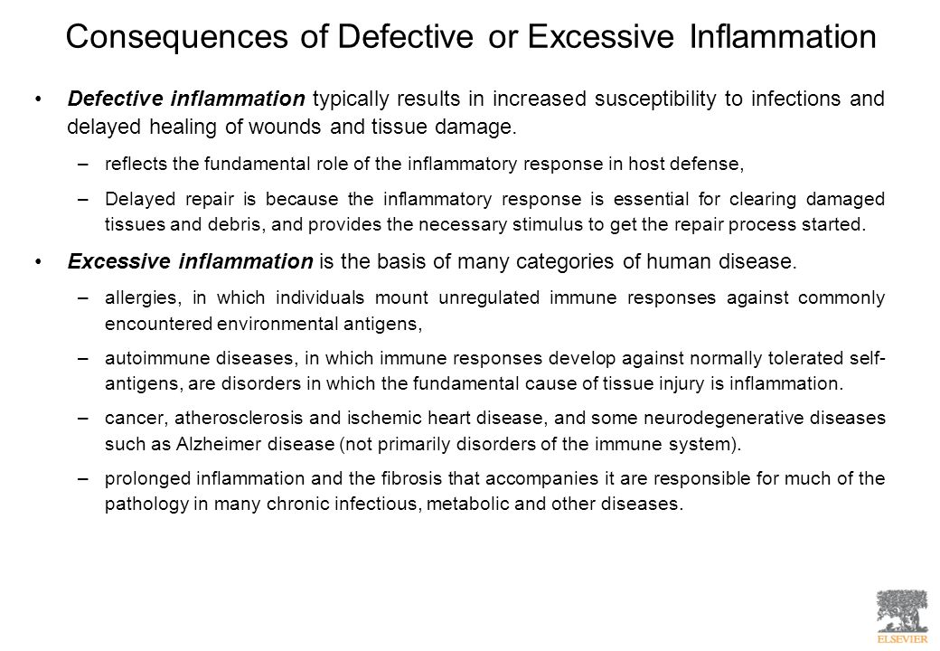 Consequences of Defective or Excessive Inflammation Defective inflammation typically results in increased susceptibility to infections and delayed hea