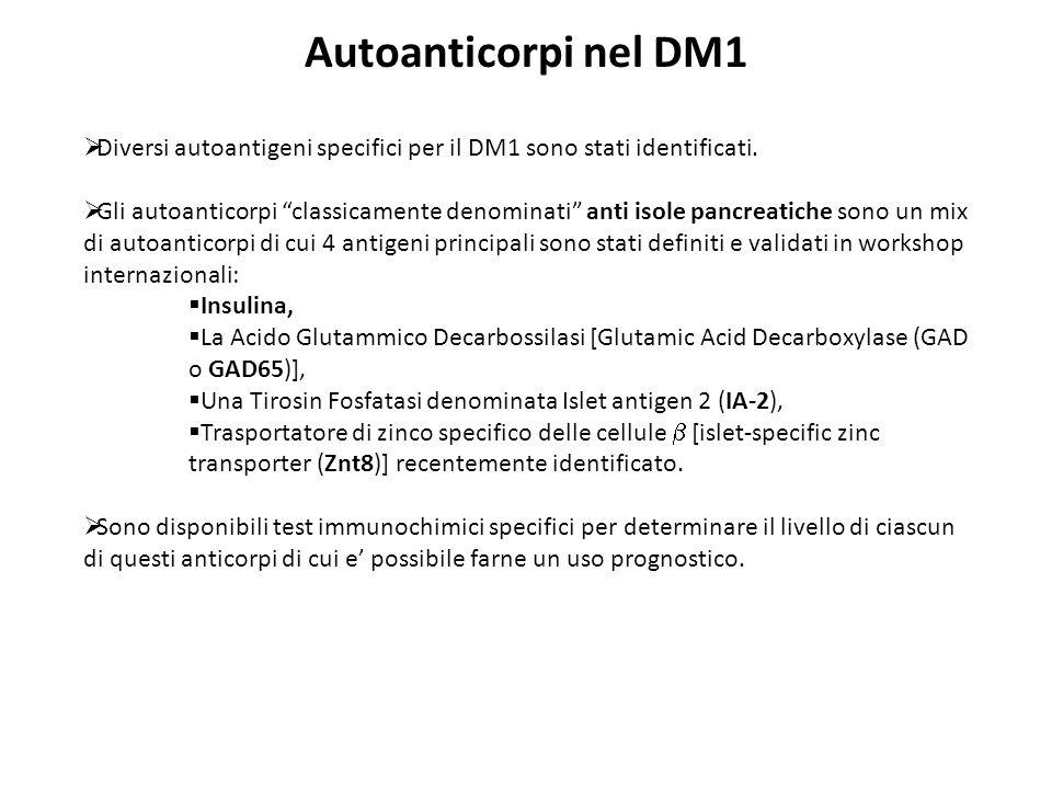 Autoanticorpi nel DM1 Diversi autoantigeni specifici per il DM1 sono stati identificati. Gli autoanticorpi classicamente denominati anti isole pancrea
