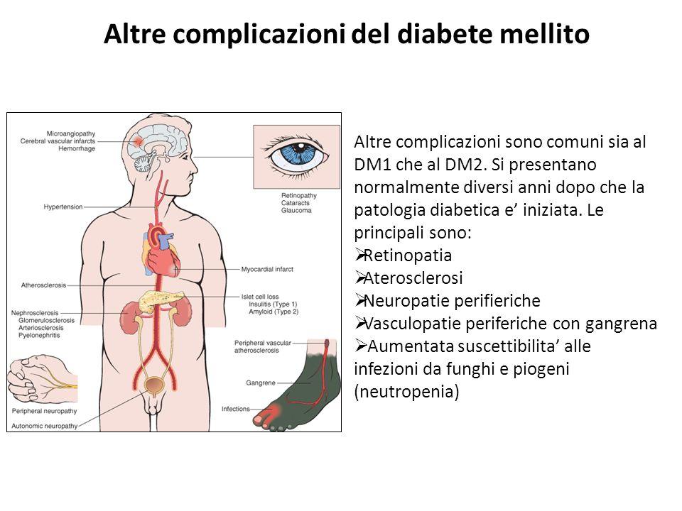 Altre complicazioni del diabete mellito Altre complicazioni sono comuni sia al DM1 che al DM2. Si presentano normalmente diversi anni dopo che la pato