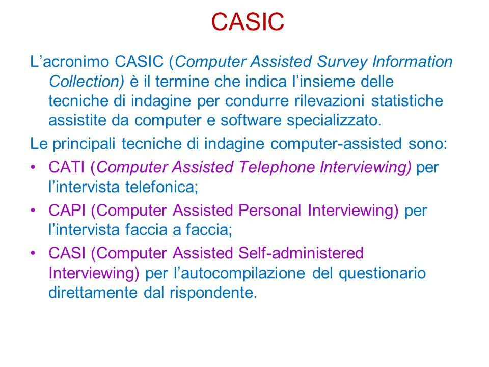 Lacronimo CASIC (Computer Assisted Survey Information Collection) è il termine che indica linsieme delle tecniche di indagine per condurre rilevazioni statistiche assistite da computer e software specializzato.