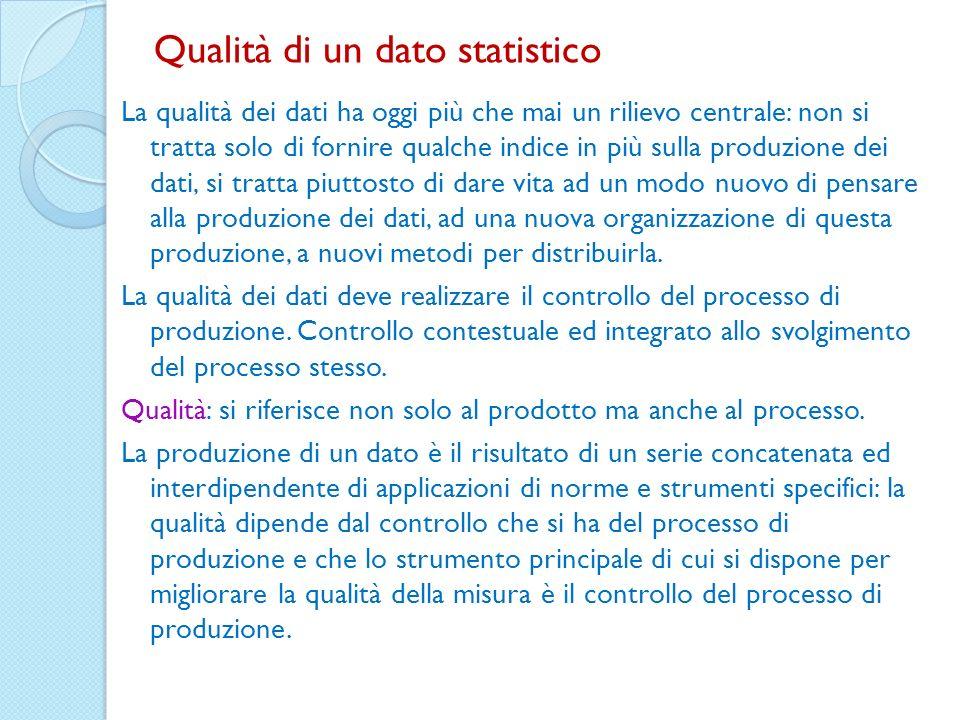 Qualità di un dato statistico La qualità dei dati ha oggi più che mai un rilievo centrale: non si tratta solo di fornire qualche indice in più sulla p