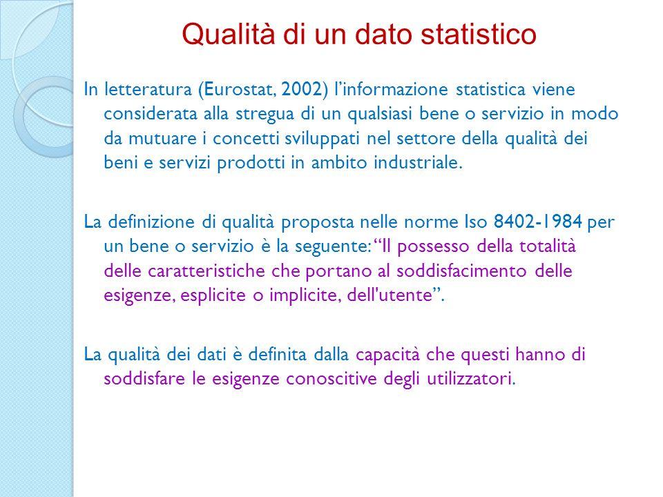In letteratura (Eurostat, 2002) linformazione statistica viene considerata alla stregua di un qualsiasi bene o servizio in modo da mutuare i concetti