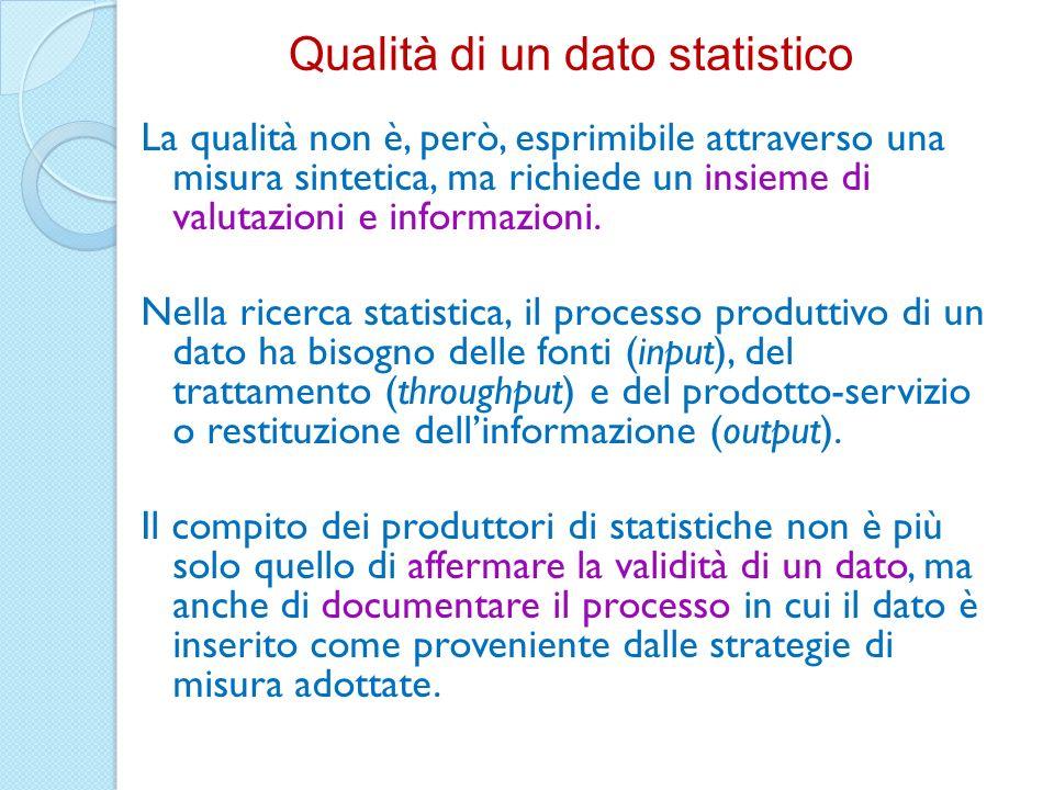 La qualità non è, però, esprimibile attraverso una misura sintetica, ma richiede un insieme di valutazioni e informazioni. Nella ricerca statistica, i