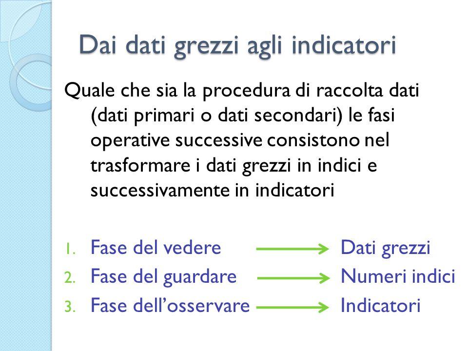 Dai dati grezzi agli indicatori Quale che sia la procedura di raccolta dati (dati primari o dati secondari) le fasi operative successive consistono ne