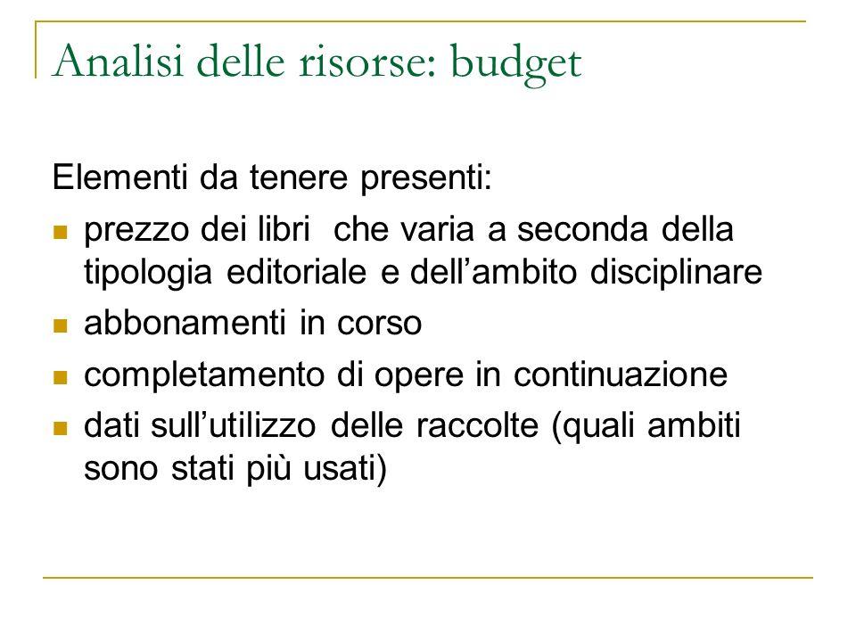 Analisi delle risorse: budget Elementi da tenere presenti: prezzo dei libri che varia a seconda della tipologia editoriale e dellambito disciplinare a