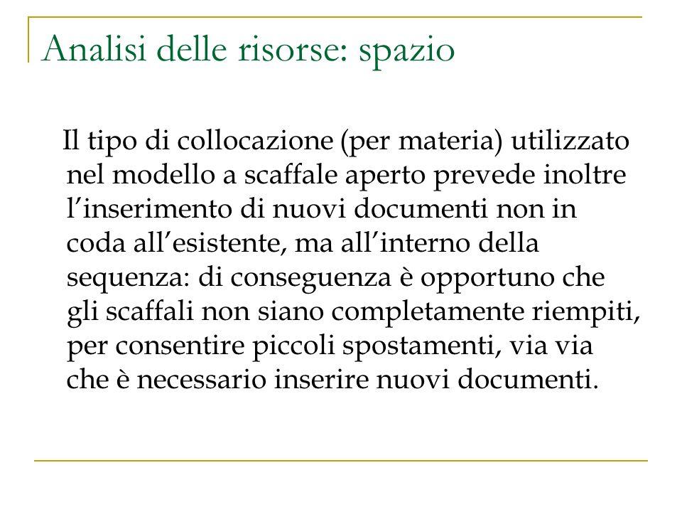 Analisi delle risorse: spazio Il tipo di collocazione (per materia) utilizzato nel modello a scaffale aperto prevede inoltre linserimento di nuovi doc