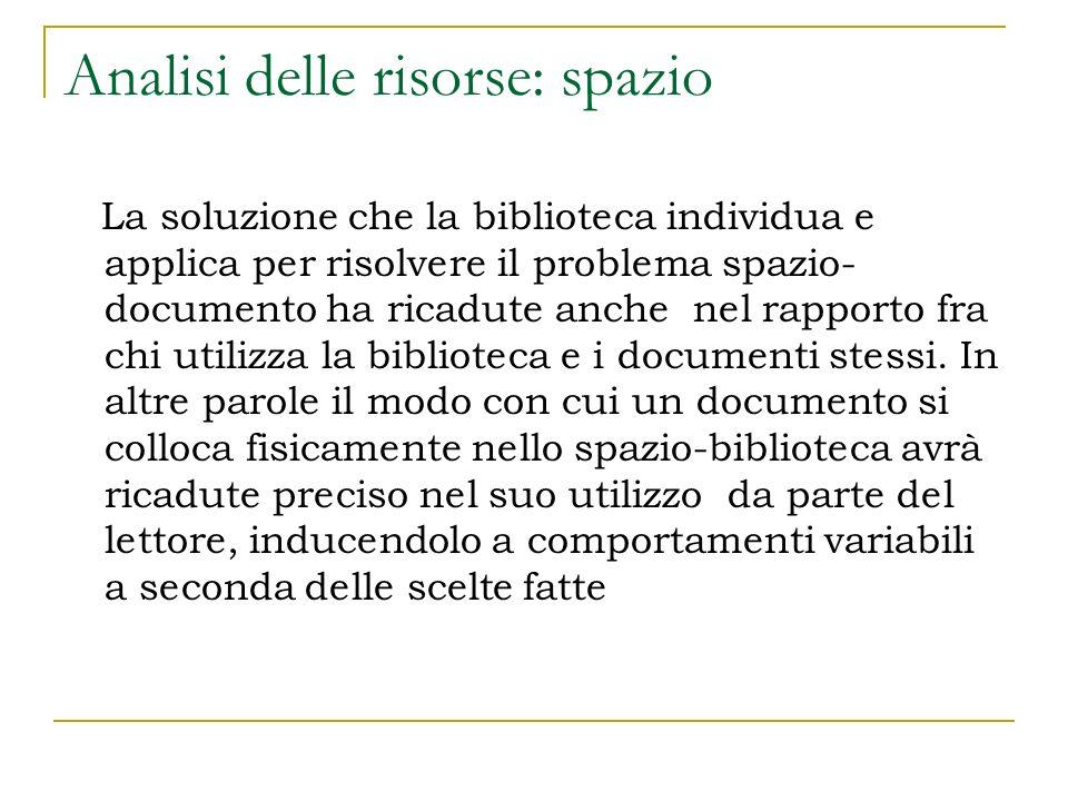 Analisi delle risorse: spazio La soluzione che la biblioteca individua e applica per risolvere il problema spazio- documento ha ricadute anche nel rap
