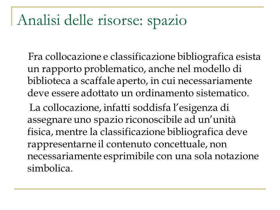 Analisi delle risorse: spazio Fra collocazione e classificazione bibliografica esista un rapporto problematico, anche nel modello di biblioteca a scaf