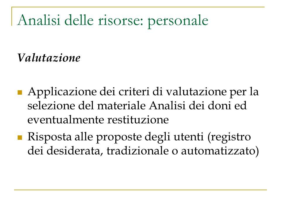 Analisi delle risorse: personale Valutazione Applicazione dei criteri di valutazione per la selezione del materiale Analisi dei doni ed eventualmente