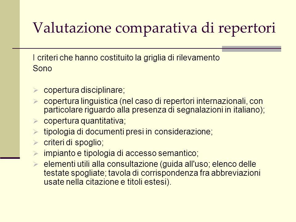 Valutazione comparativa di repertori AREA STORICA Historical abstract: disponibile in tre versioni, a stampa, su disco ottico e on-line.