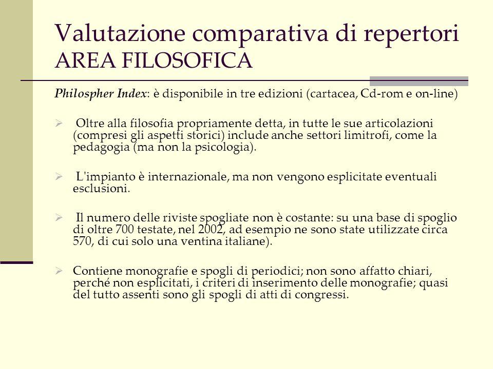 Valutazione comparativa di repertori AREA FILOSOFICA Philospher Index: è disponibile in tre edizioni (cartacea, Cd-rom e on-line) Oltre alla filosofia propriamente detta, in tutte le sue articolazioni (compresi gli aspetti storici) include anche settori limitrofi, come la pedagogia (ma non la psicologia).