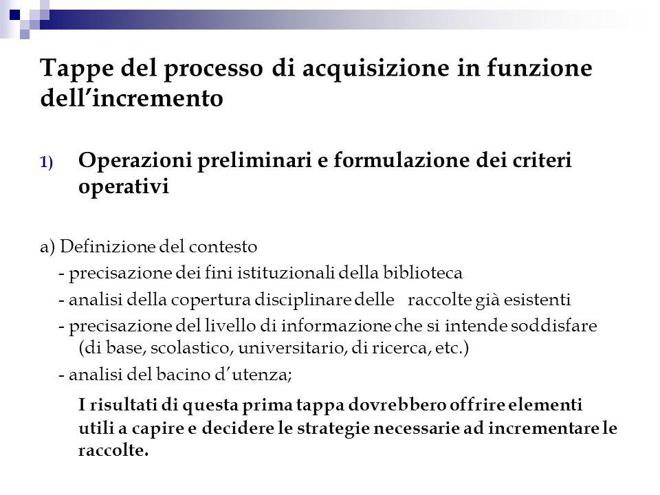 Tappe del processo di acquisizione in funzione dellincremento 1) Operazioni preliminari e formulazione dei criteri operativi a) Definizione del contes
