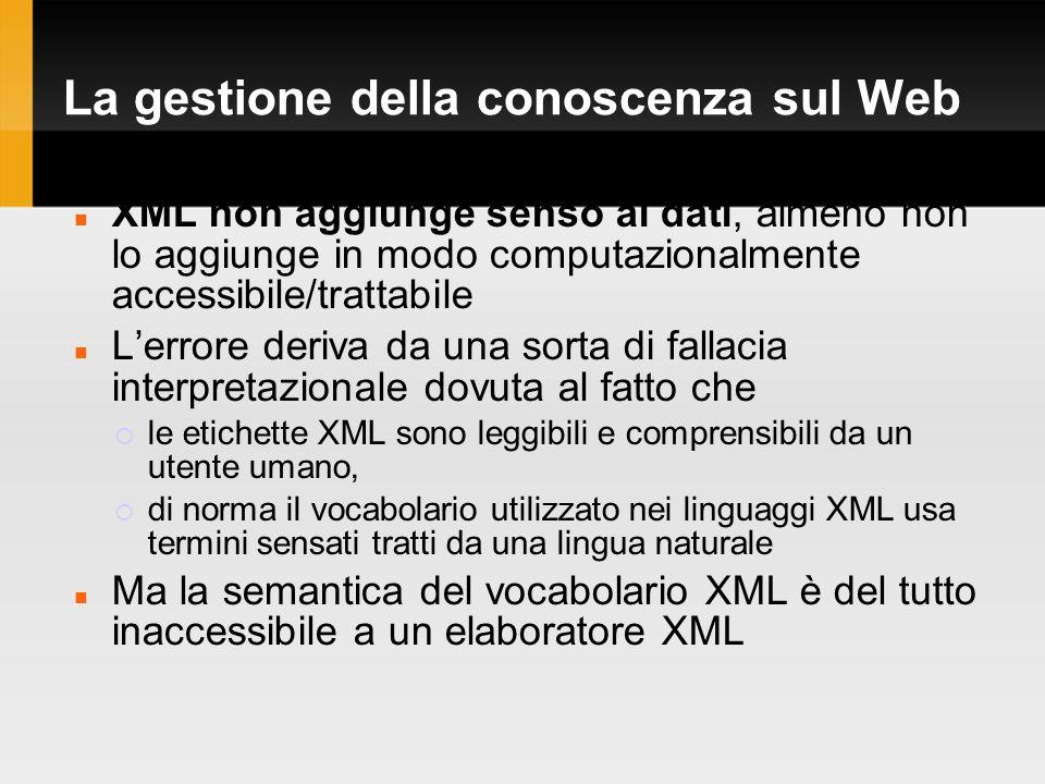 La gestione della conoscenza sul Web XML non aggiunge senso ai dati, almeno non lo aggiunge in modo computazionalmente accessibile/trattabile Lerrore deriva da una sorta di fallacia interpretazionale dovuta al fatto che le etichette XML sono leggibili e comprensibili da un utente umano, di norma il vocabolario utilizzato nei linguaggi XML usa termini sensati tratti da una lingua naturale Ma la semantica del vocabolario XML è del tutto inaccessibile a un elaboratore XML