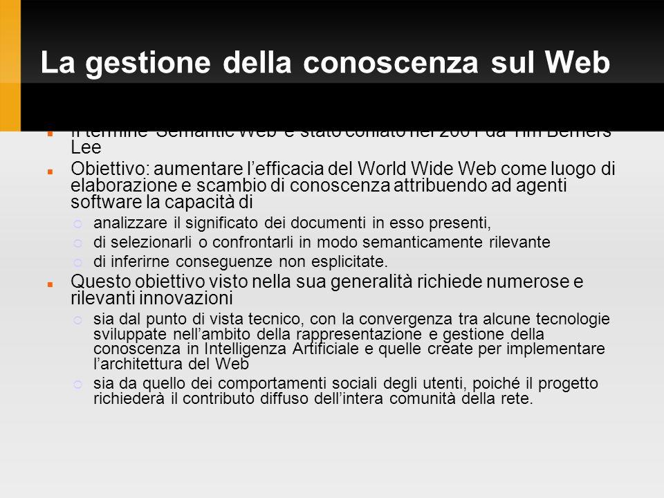 La gestione della conoscenza sul Web Il termine Semantic Web è stato coniato nel 2001 da Tim Berners Lee Obiettivo: aumentare lefficacia del World Wide Web come luogo di elaborazione e scambio di conoscenza attribuendo ad agenti software la capacità di analizzare il significato dei documenti in esso presenti, di selezionarli o confrontarli in modo semanticamente rilevante di inferirne conseguenze non esplicitate.