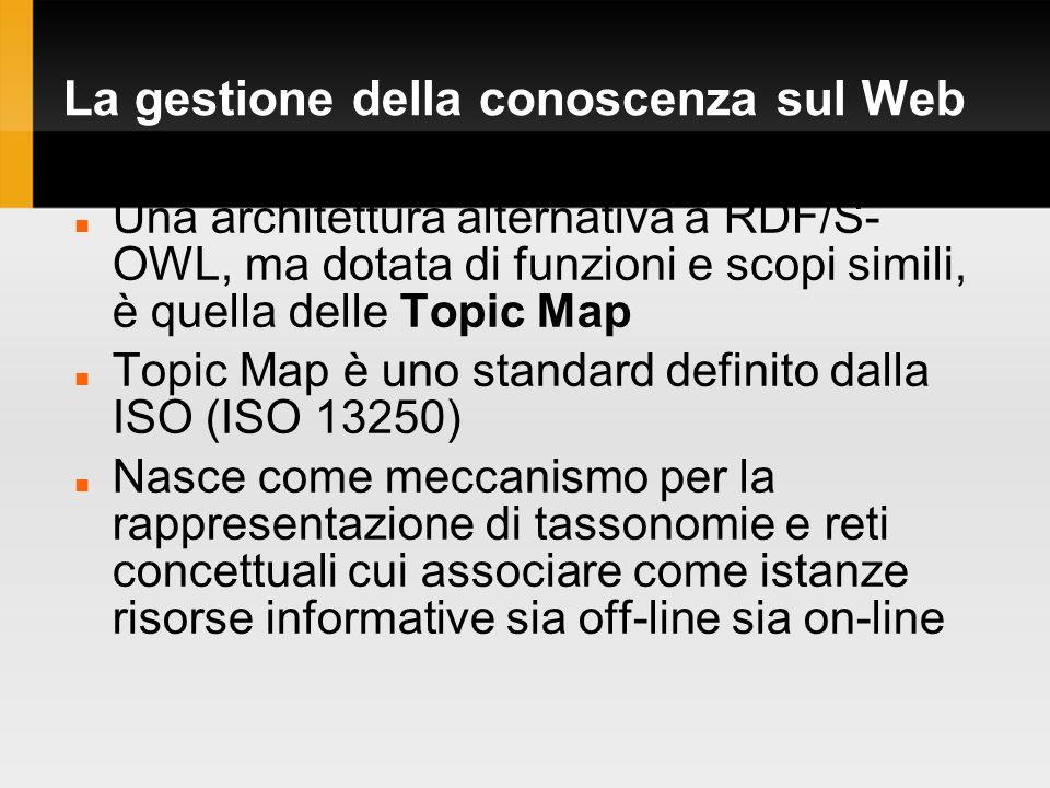 La gestione della conoscenza sul Web Una architettura alternativa a RDF/S- OWL, ma dotata di funzioni e scopi simili, è quella delle Topic Map Topic Map è uno standard definito dalla ISO (ISO 13250) Nasce come meccanismo per la rappresentazione di tassonomie e reti concettuali cui associare come istanze risorse informative sia off-line sia on-line