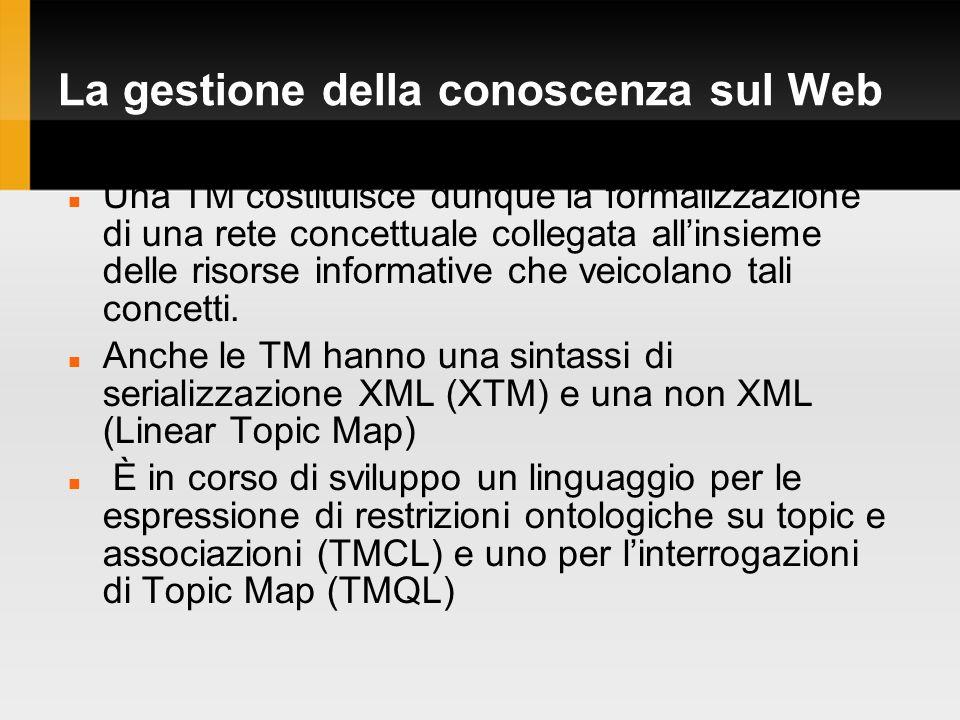 La gestione della conoscenza sul Web Una TM costituisce dunque la formalizzazione di una rete concettuale collegata allinsieme delle risorse informative che veicolano tali concetti.