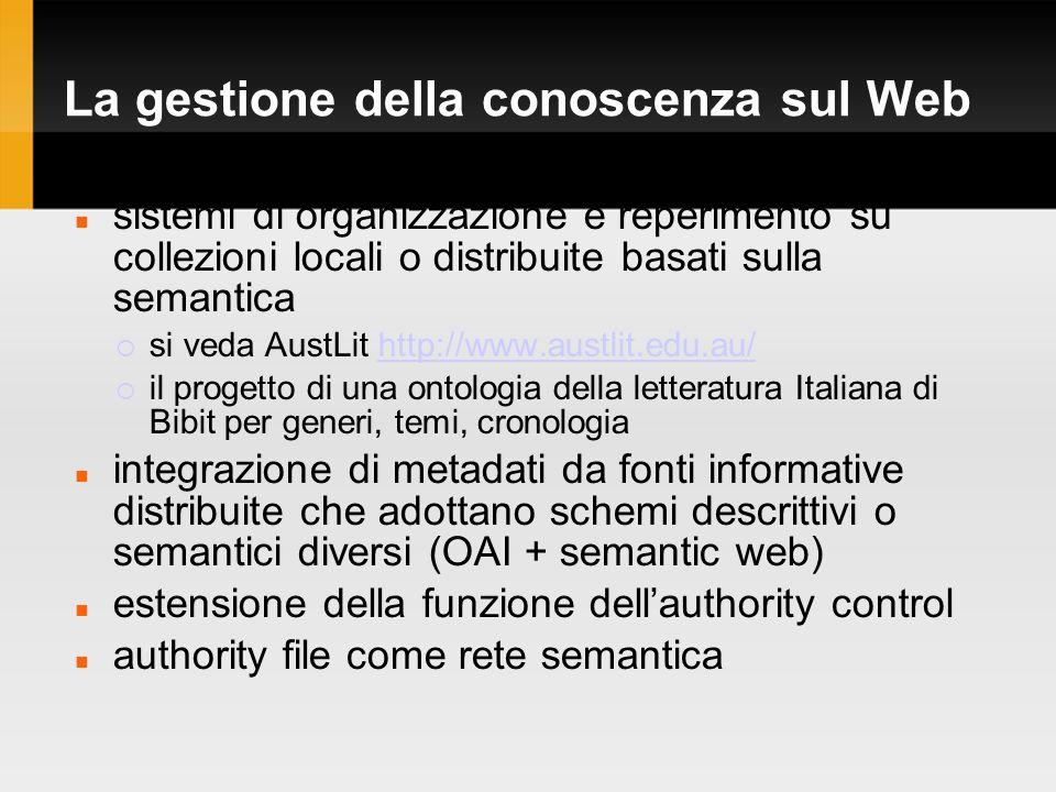 La gestione della conoscenza sul Web sistemi di organizzazione e reperimento su collezioni locali o distribuite basati sulla semantica si veda AustLit http://www.austlit.edu.au/http://www.austlit.edu.au/ il progetto di una ontologia della letteratura Italiana di Bibit per generi, temi, cronologia integrazione di metadati da fonti informative distribuite che adottano schemi descrittivi o semantici diversi (OAI + semantic web) estensione della funzione dellauthority control authority file come rete semantica