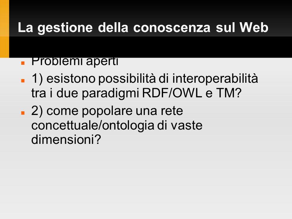 La gestione della conoscenza sul Web Problemi aperti 1) esistono possibilità di interoperabilità tra i due paradigmi RDF/OWL e TM.