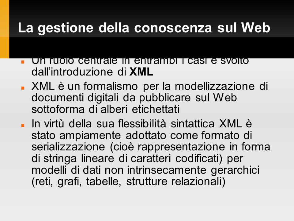 La gestione della conoscenza sul Web Un ruolo centrale in entrambi i casi è svolto dallintroduzione di XML XML è un formalismo per la modellizzazione di documenti digitali da pubblicare sul Web sottoforma di alberi etichettati In virtù della sua flessibilità sintattica XML è stato ampiamente adottato come formato di serializzazione (cioè rappresentazione in forma di stringa lineare di caratteri codificati) per modelli di dati non intrinsecamente gerarchici (reti, grafi, tabelle, strutture relazionali)