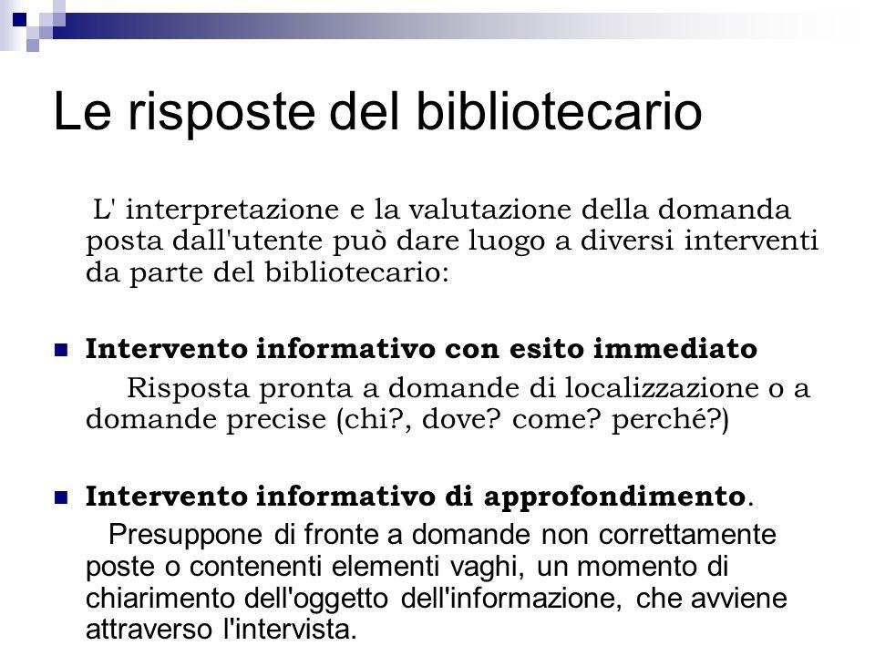 Le risposte del bibliotecario L' interpretazione e la valutazione della domanda posta dall'utente può dare luogo a diversi interventi da parte del bib