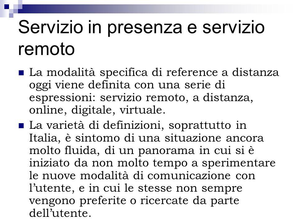 Servizio in presenza e servizio remoto La modalità specifica di reference a distanza oggi viene definita con una serie di espressioni: servizio remoto