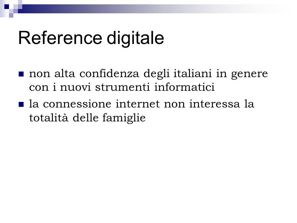 Reference digitale non alta confidenza degli italiani in genere con i nuovi strumenti informatici la connessione internet non interessa la totalità de