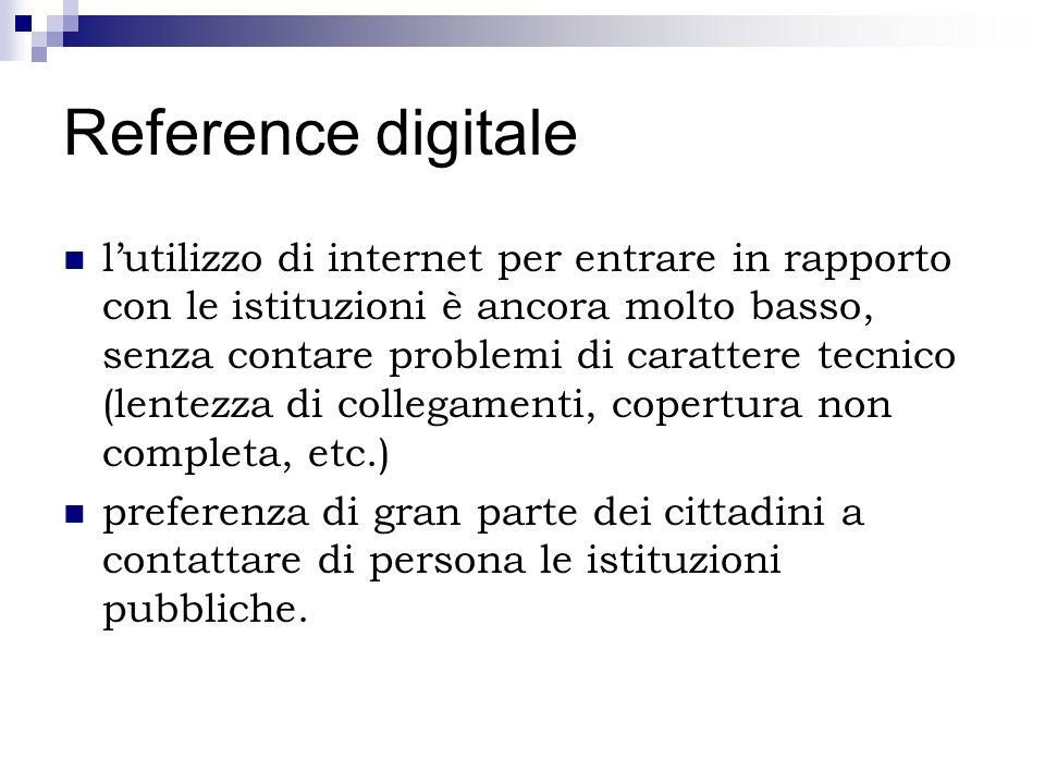 Reference digitale lutilizzo di internet per entrare in rapporto con le istituzioni è ancora molto basso, senza contare problemi di carattere tecnico