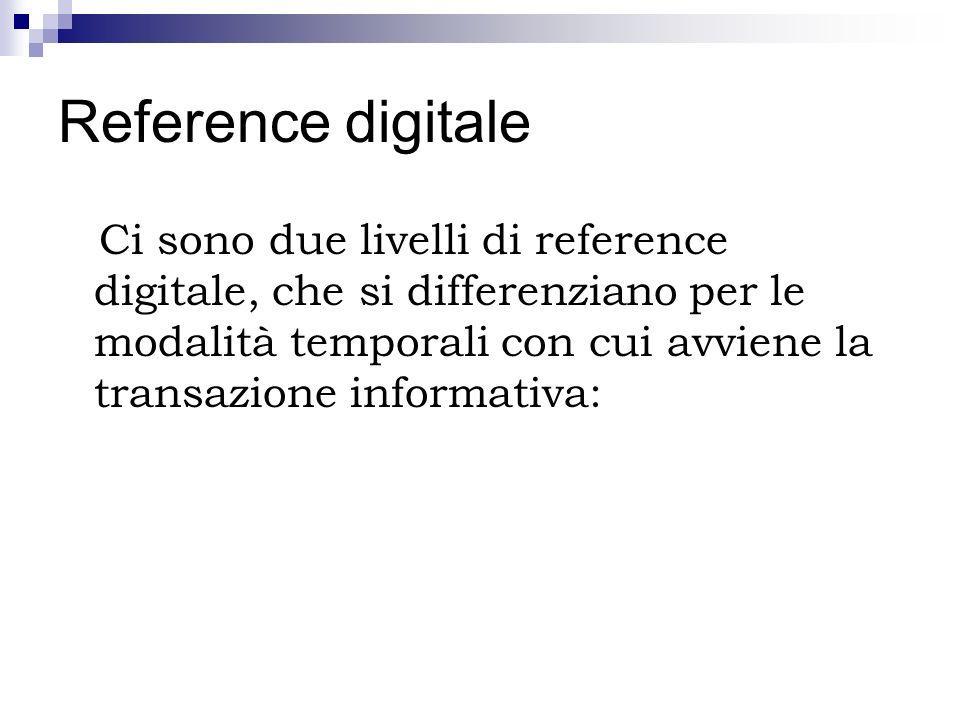 Reference digitale Ci sono due livelli di reference digitale, che si differenziano per le modalità temporali con cui avviene la transazione informativ