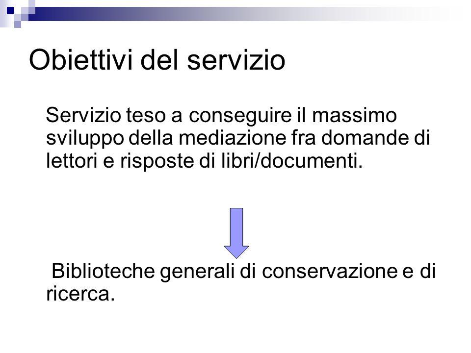Obiettivi del servizio Servizio teso a conseguire il massimo sviluppo della mediazione fra domande di lettori e risposte di libri/documenti. Bibliotec