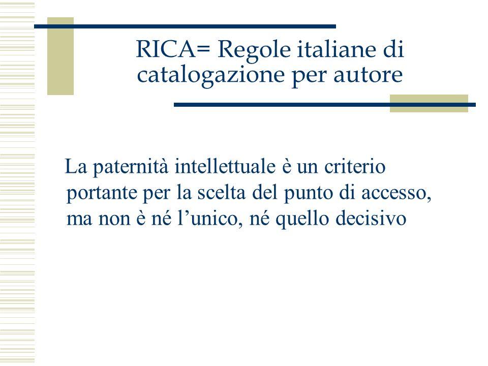 RICA= Regole italiane di catalogazione per autore Lintestazione è costituita dal termine che è costantemente o prevalentemente associato alla pubblicazione, ma non è unattribuzione di paternità intellettuale.