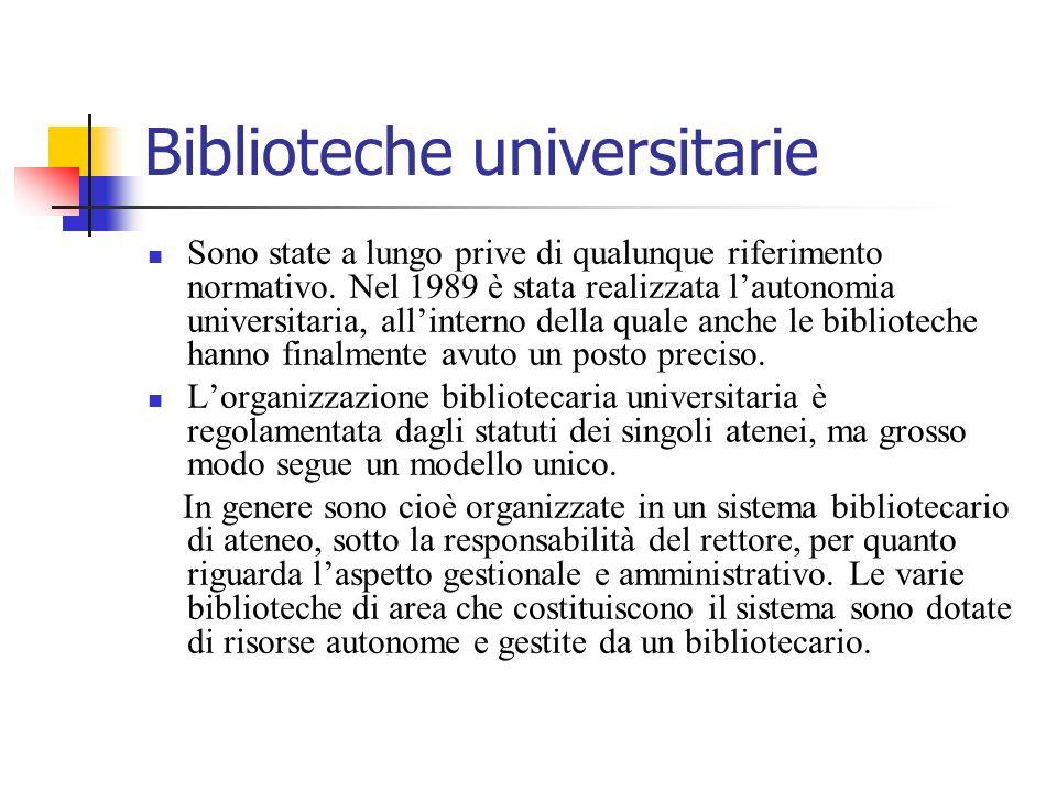 Biblioteche universitarie Sono state a lungo prive di qualunque riferimento normativo. Nel 1989 è stata realizzata lautonomia universitaria, allintern
